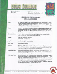 2004 Six Flags Wild Safari Fact Sheet