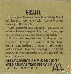 Wild Animal Trading Cards by McDonalds