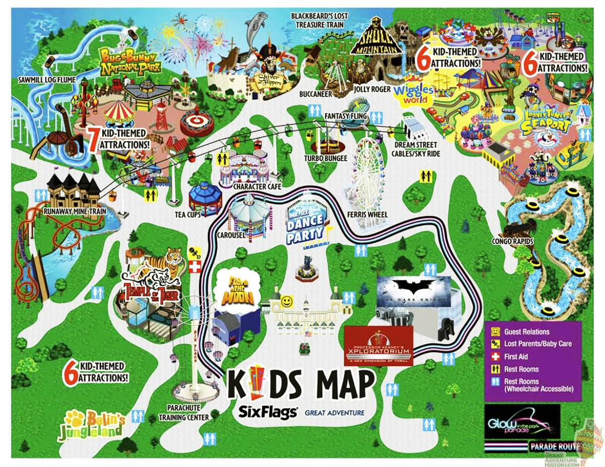 Great Adventure Kids Map The Park Today Great Adventure - Map pictures for kids
