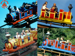 Runaway Mine Train's Four Coaster Trains