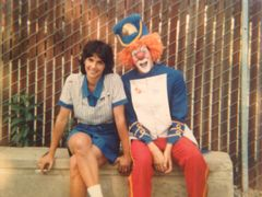 Juggles the Clown and the girl taking a break