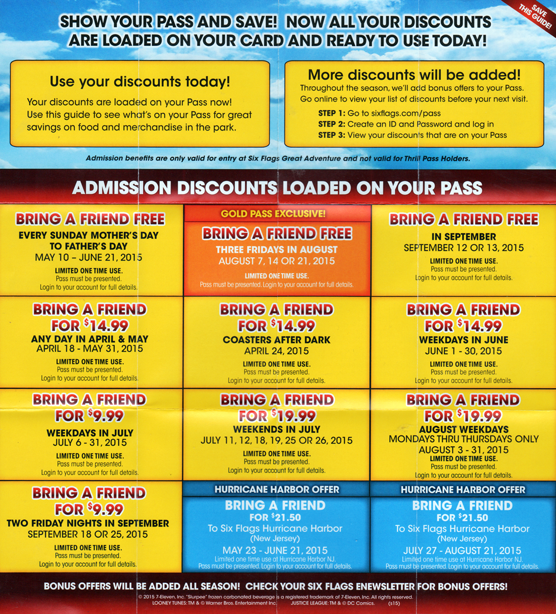 Six Flags Season Pass Coupons/Bring-A-Friends - The Park
