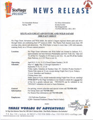 2000 Six Flags Great Adventure and Wild Safari Fact Sheet