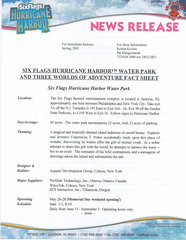 2001 Six Flags Hurricane Harbor Water Park and Three Worlds of Adventure Fact Sheet