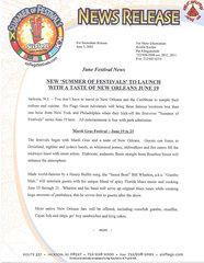 2002 New Summer of Festivals to Launch with a Taste of New Orleans June 19