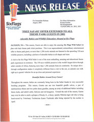 2001 'Free Safari' Offer Extended to All Theme Park Guests in 2001