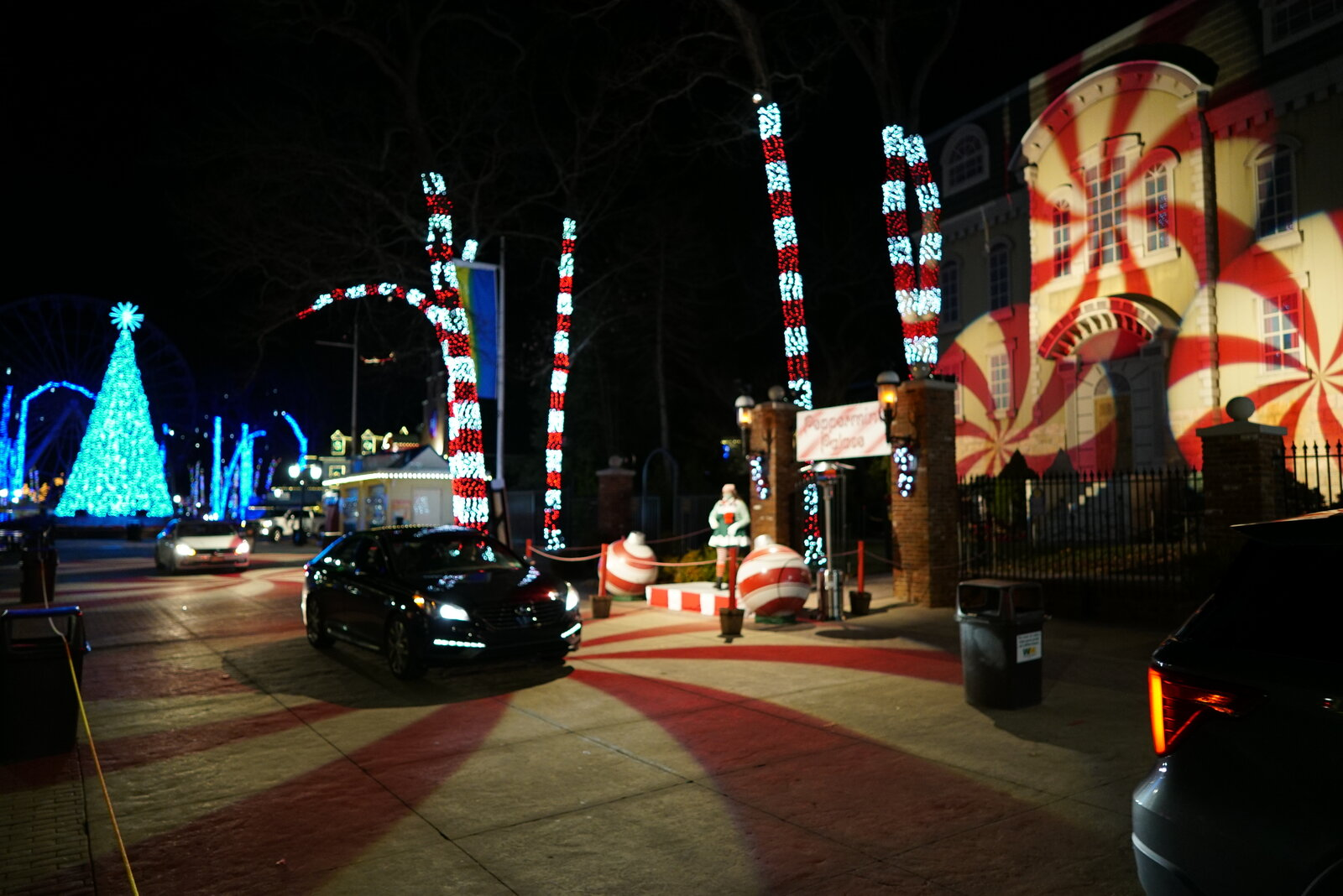 Cars drive thru Gingerbread Junction's Peppermint Path.JPG
