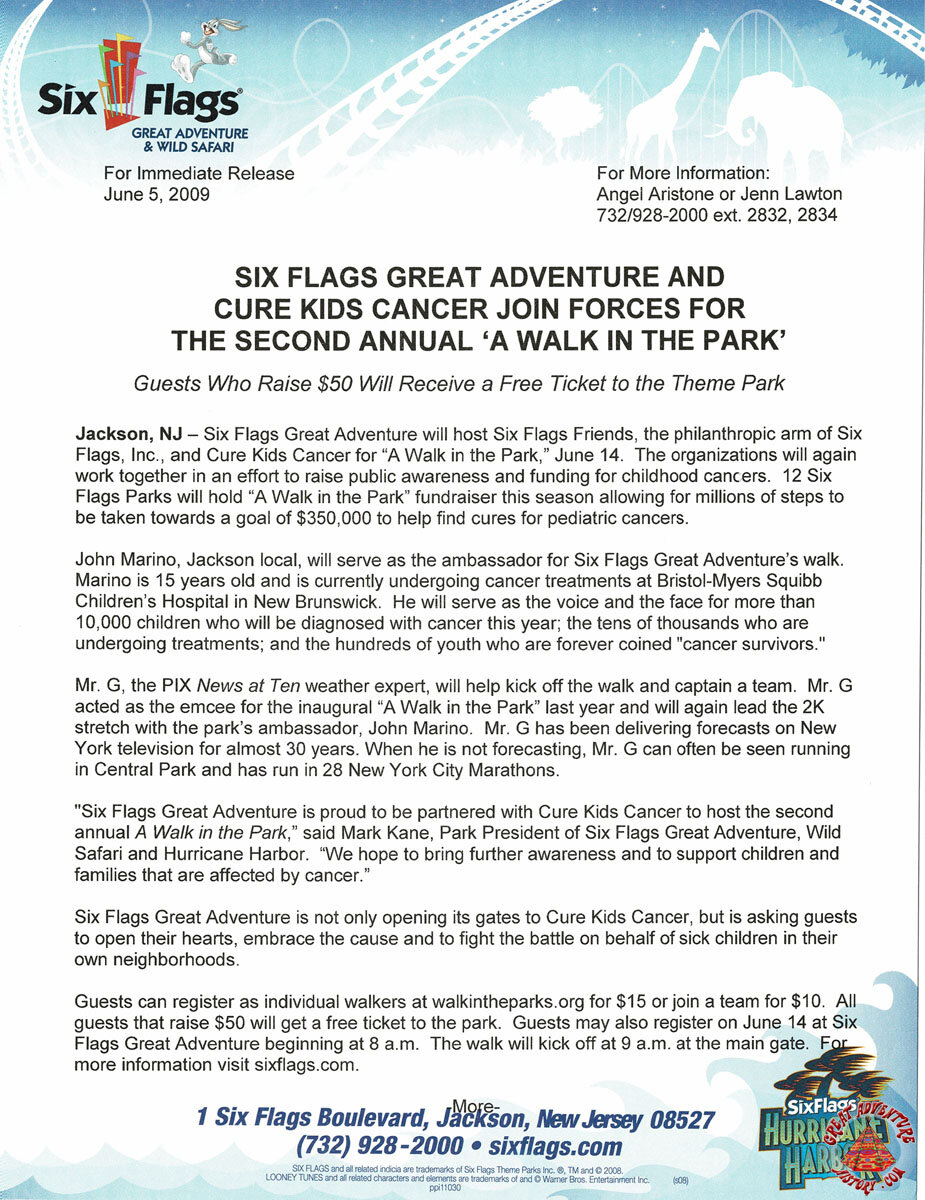2009 SFGA and Cure Kids Cancer Join Forces for the Second Annual 'A Walk in the Park'