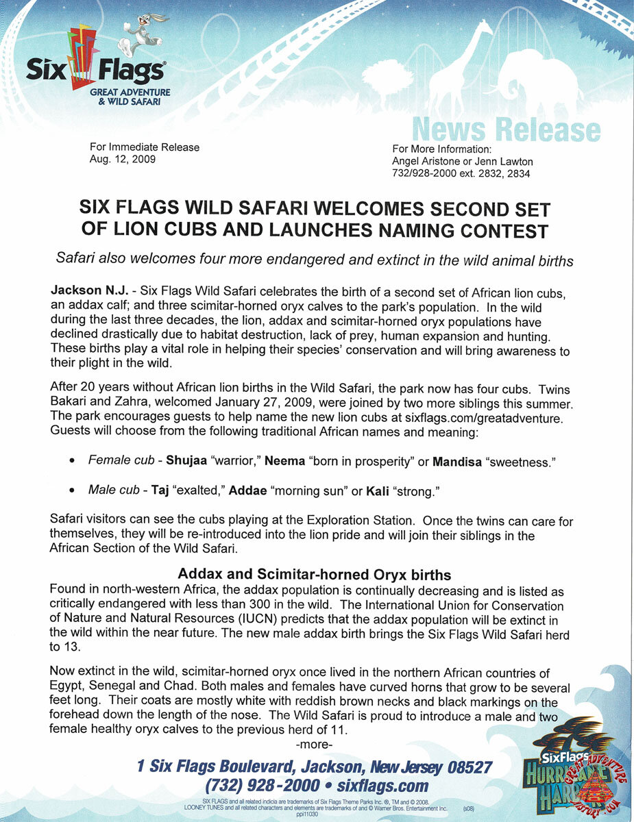 2009 Six Flags Wild Safari Welcomes Second Set of Lion Cubs and Launches Naming Contest