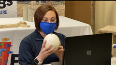 Educator Jackie & ostrich egg - live virtual program.jpg